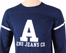VTG 90s AEROPOSTALE Aero Jeans Co T-SHIRT Medium M Long Sleeve Navy Made In USA!