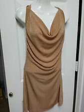 HOURGLASS Gold Shimmer Sexy Night Club Evening Halter Stop Dress Size M WC648