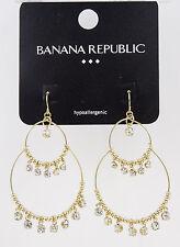 Gold Tone Rhinestone Dangle Earrings by Banana Republic #bre62