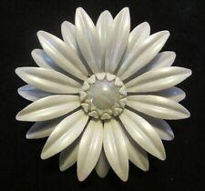 Large White Enamel Vintage Flower Power Metal Pin Brooch Moonstone Center