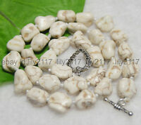 "Natural White Turquoise 10x13MM Real Gemstone Nugget Beads Necklaces 18"" Love CL"