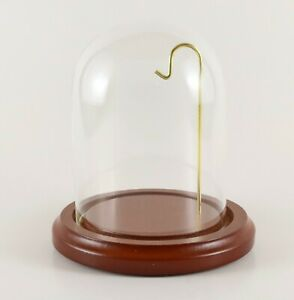 """3"""" x 4"""" Glass Display Dome With 4"""" Walnut Wood Base Pocket Watch Collectible NEW"""