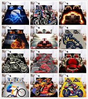 3D Cars Motorcycle Racing Duvet Cover Bedding Set Comforter Cover Pillow Shams