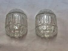 Matching Set Of Antique Vintage Deco Clear Glass Bird Cage Feeders Barrel Shape