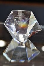 STEUBEN Paperweight TENNYSON Star Crystal Engraved Prayer Model #8165 Prism