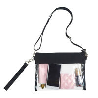 Clear Cross Body Purse Bag Stadium Approved Shoulder Tote Bag With Wrist Strap