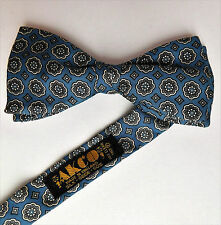 "Silver blue bow tie pure silk floral pattern Akco made in England 14"" to 20"""
