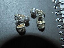 basket clip on earrings vintage estate silver tone