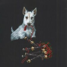 SCOTTISH TERRIER RYTA PRINT OF PAINTING BAGPIPES ART 4x4 XMAS GIFT FOLK ART DOG