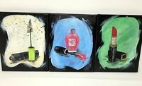 """Painting Acrylic on Canvas Original Art 8"""" X 10"""" Tryptic Dressing Table"""