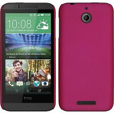 Hardcase HTC Desire 510 rubberized hot pink Cover + protective foils