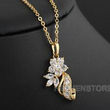 18k Gold Filled Crystal Flower Floral Necklace Chic Lady Pendant Chain Jewelry