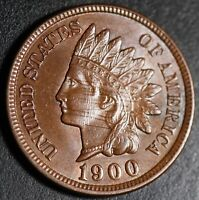 1900 INDIAN HEAD CENT - AU BU UNC Details - With REPUNCHED DATE *SNOW-18* RPD
