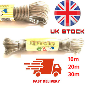 Washing Line STEEL CORE 10/20/30M Clothes Line STRONG Steel Wire Long Lasting UK