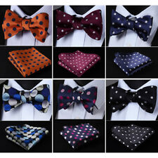 HISDERN Mens Woven Polka Dot Self Bow Tie Silk Wedding  Handkerchief Set#RD1