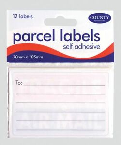 Parcel Labels Self Adhesive - Pack of 12 Labels
