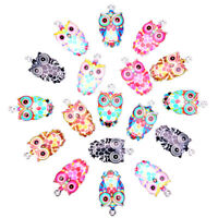 2/6x/Set Enamel Alloy Animal Owl Charms Pendant DIY Craft Jewelry Making Gif PY
