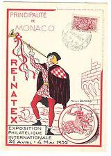 CARTE MAXIMUM  TIMBRE MONACO N° 373 REINATEX EXPOSITION 1952 PLUS VIGNETTE