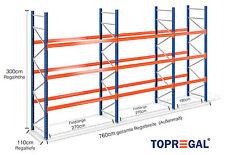 NEU! Palettenregal 7,6m breit, 3m hoch, 110cm tief / 3 Ebenen, Palettenregale