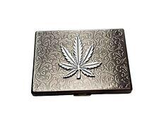 Handmade Antique Silver Embossed Marijuana Leaf Cigarette Case