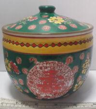 Vintage to Antique Chinese Porcelain Lidded Bowl / Jar / Dish. Red Stamp Mark.