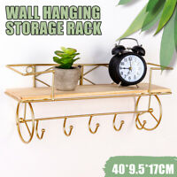 Wall Mounted Wood Shelf Holder Bathroom Kitchen Storage Rack Organizer Key Hooks
