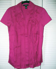 ALFANI Solid Bright Pink Short Sleeve Button Shirt with Flower Detail $50 6