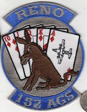 US Air Force 152 AGS Squadron Patch Reno Neveda Royal Flush Mule