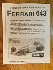 FX-  Kyosho 1:8 Scale Ferrari 643 F1 Manual (Photo Copy) - GP (Nitro) F1 series