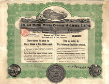 Canada 1913 The San Martin Minning Co Ltd 10 shares $50 Uncancelled coupons DECO