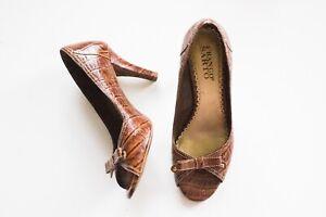 Franco Sarto | Vintage 1990's Light Brown Leather Peep Toe Bow Heeled Pumps