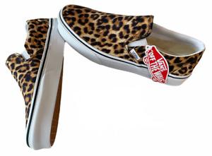 Vans Classic Slip On (Leopard) Canvas Black Shoes Size 9.5 Women's NIB New ⭐️