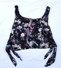 EX CON Mambo Size 16 Top Singlet Tank Blouse Beach Black Print Surf Youth Teen