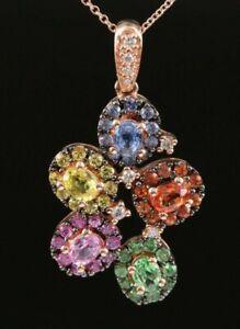 $4750 / NEW / EFFY Watercolors Diamond & Multicolor Sapphire Necklace / 14K Gold