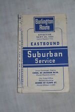 Vintage Burlington Route Railroad Suburban Service Timetable Sept 1954