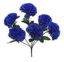 6 CARNATIONS ~ ROYAL BLUE ~ Silk Wedding Flowers Bouquets Centerpieces Bridal