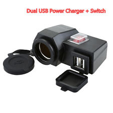 12V Waterproof 2USB Motorcycle Cell Phone GPS Power Supply Socket Charger+Switch