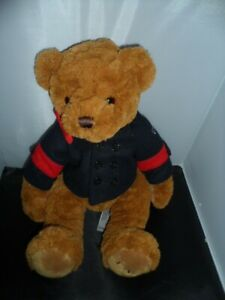 FAO Schwarz Brown USA Teddy Bear Blue Peacoat Jacket Stuffed Animal Plush Toy