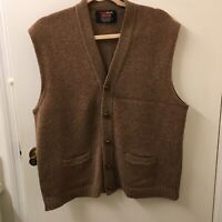 Vintage Wool Mist By Drummond Cardigan Knit Sweater Vest 2 Pockets Brown Med