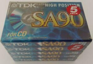 TDK SA90 / SA-90EB 5 PACK - Blank Audio 90 Min / Type II / Chrome Cassette Tape