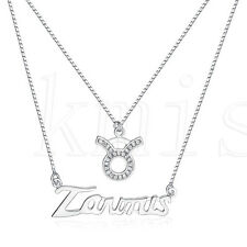 925 Sterling Silver Taurus Letter Charms Pendant Necklace with CZ Stones
