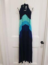 Untold Blue Mix Halter Neck Maxi Viscose Dress Size 12
