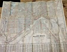 "Vintage 1934 ST. PAUL MINNESOTA Map 28"" x 32"" Map McGill Warner Street Car Lines"