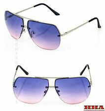 c9fba52741 New Celebrity Aviator Sunglasses Purple Pink Gradient lens Oceanic metal  rimless