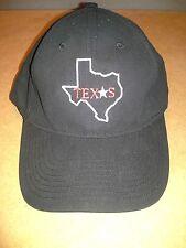 PLAIN TEXAS TX LONE STAR STATE MAP TEXAS BLACK CAP BASEBALL HAT ADJUSTABLE