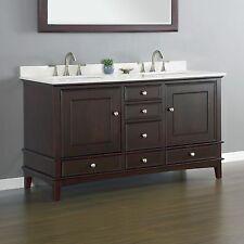 "QUARTZ 60"" Bathroom Vanity Cabinet Double Sink Basin Hardwood TOP QUALITY QUARTZ"