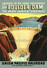See Boulder Dam - 1940's Union Pacific Railroad Travel Poster