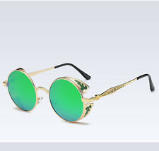 Vintage Polarized Steampunk Sunglasses Fashion Round Mirrored Retro Sunglasses
