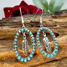 925 Silver Turquoise Ear Hook Dangle Drop Leaf Earrings Women Jewelry Gift