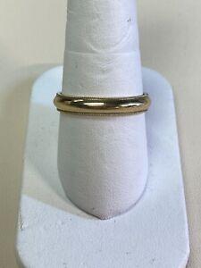 14kt Yellow Gold Milgrain Mens Ring Band